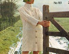 womens aran coat knitting pattern PDF ladies aran coat Vintage 70s 32-39 inch aran worsted 10ply aran knitting pattern pdf instant download