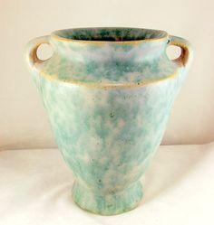 Burley Winter Arts and Crafts handled vase green blended matte glaze - Art Pottery
