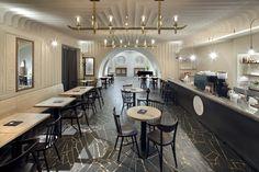 re:architekti / Rekonstrukce kina Varšava Architecture Awards, Architecture Design, Bar Interior Design, Architektonický Design, Traditional Chairs, Wallpaper Magazine, Travel Wallpaper, Commercial Design, Upholstered Chairs