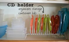 We bet the compact disc holder you bought in the '90s is now collecting dust in your attic. Give this outdated organizer a helpful new purpose by using it to store plastic lids. See more at Hip 2 Save »