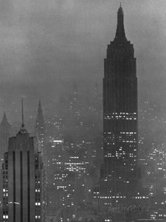 Silhouette of the Empire State Building and Other Buildings without Light During Wartime | Photographic Print by Andreas Feininger | AllPosters