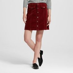 Women's Button Front A-Line Skirt Burgundy 6 - Mossimo Supply Co.™ (Juniors')…