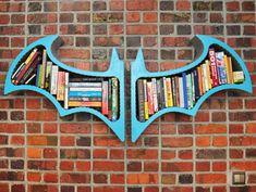 great for an entertainment room or kids room Batman Arkham Asylum Book Shelves B Fahlsing Batman Room, Batman 2, Superhero Room, Batman Bookshelf, Hanging Bookshelves, Blue Bookshelves, Unique Bookshelves, Tree Bookshelf, Bookcase