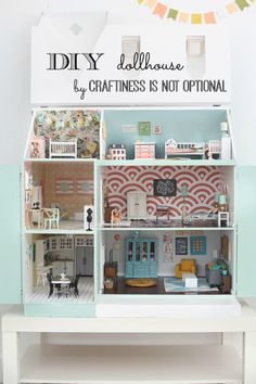amazing DIY dollhouse by craftiness is not optional - The Girls Bedroom and Nursery Modern Dollhouse, Dollhouse Dolls, Miniature Dolls, Dollhouse Miniatures, Dollhouse Ideas, Dollhouse Design, Doll Furniture, Dollhouse Furniture, Miniature Furniture