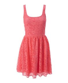 Cute coral lace summer dress