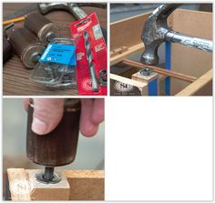 Cheapest Way To Add Furniture Legs . once the T-Nut is installed, the wooden furniture leg screws in easily. They cost approximately cents each . Diy Furniture Hardware, Wooden Furniture Legs, Repurposed Furniture, Furniture Makeover, Furniture Decor, Painted Furniture, Stencil Dresser, Dresser Desk, Ottoman Footstool