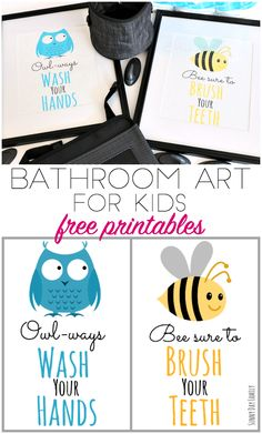 Free printable bathroom art for kids! Update your kids bathroom with these cute printable bathroom signs - adorable reminders to wash your hands and brush your teeth! Perfect bathroom decor for boys and girls. Love these free printables!