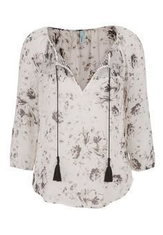 peasant top in floral print with tassels - #maurices