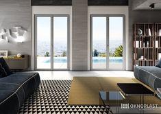 Elegant living room with concrete details #proluxevolution #oknoplast #windows #design #decor #home #homedecor #livingroom #concrete