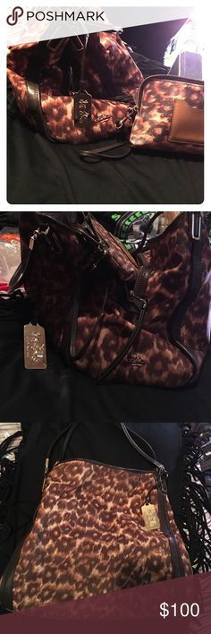 Coach Madison Ocelot Printed Small Phoebe Purse and Wallet Set. in decent condition. Purchased brand new two years ago. Make offer. Coach Bags Shoulder Bags