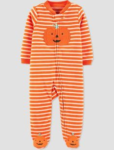 Baby Stripe Pumpkin Halloween Romper - Just One You made by carter's Orange Halloween Pajamas, Cute Halloween, Halloween Pumpkins, Baby Girl Pajamas, Baby Girl Newborn, Baby Girls, Carters Just One You, Baby Sleepers, One Piece Pajamas