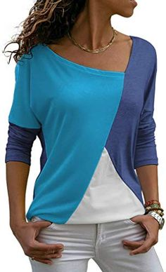 Looking for Womens Shirts Casual Batwing Sleeve Blouses Patchwork Color Tunic Tops ? Check out our picks for the Womens Shirts Casual Batwing Sleeve Blouses Patchwork Color Tunic Tops from the popular stores - all in one. Kleidung Design, Cheap Womens Tops, Mode Outfits, Trendy Tops, Casual Shirts, Tee Shirts, Fall Shirts, Blouse Designs, Tunic Tops