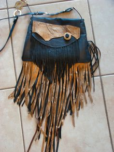 1697ee8e23 Handmade Leather Hippie Gypsy Fringe Bag Festival Boho Crossbody Purse   Handmade  BohoShoulderBag Hippie Gypsy