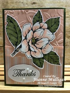 Good Morning Magnolia and Magnolia Lane Designer Series Paper from Stampin' Up! Created by Joanne Mulligan, Independent Stampin' Up! Bridge Card, Magnolia Stamps, Crafty Projects, Stamping Up, Cool Cards, Thank You Cards, Birthday Cards, Floral Card, Card Designs