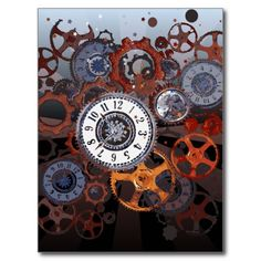 Retro steampunk watch parts, gears and cogs print post card