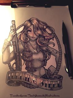 military pinup pin-up tattoo illustration by Tim Shumate