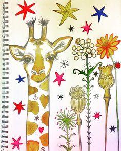 Giraffee in the Wild Flowers illustration by Lizzie Reakes