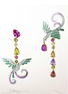 """Asymmetrical - cool! Oiseaux de Paradis """"Birds of Paradise"""" earrings featuring multicolored sapphires and diamonds set in 18K white gold by Van Cleef & Arpels. http://www.polyvore.com/birds_paradise_in_fashion/collection?id=1336187"""