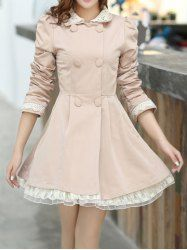 $26.80 Lace Splicing Refreshing Style Long Sleeves Double-Layered Collar Polyester Trench Coat For Women