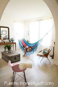 A hammock is the perfect place to recline and relax. Install an indoor hammock for beachy relaxation all year long. For more indoor hammock design ideas, visit domino. Interior Exterior, Home Interior, Modern Interior, Love Home, My Dream Home, Shabby Chic Zimmer, Indoor Hammock, Indoor Swing, Hammock Bed