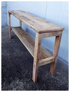 Cottage Sofa Table Natural Color Reclaimed Wood Rustic Distressed by Darvo Western Furniture, Reclaimed Wood Furniture, Diy Pallet Furniture, Furniture Plans, Rustic Furniture, Modern Furniture, Antique Furniture, Furniture Dolly, Furniture Movers