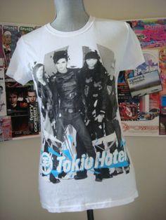 Tokio Hotel- Shirt (White) http://www.ebay.com/itm/161207509535?ssPageName=STRK:MESELX:IT&_trksid=p3984.m1558.l2649