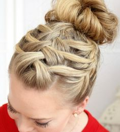 Triple Waterfall braided bun @ Missy Sue