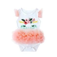 0-9M Baby Girls Bodysuit Kid Clothes Lace Floral Print Cotton O-Neck Short Sleeve Soft Infantil Twins #Affiliate