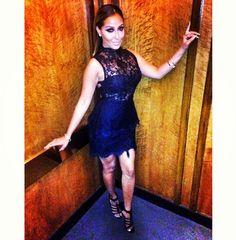 Adrienne Bailon's Instagram Jovani Lace Peplum Cocktail Dress and Givenchy Black Satin:Leather Sandals