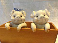 Vintage Retro Fitz Floyd Ceramic Pigs Trough Salt Pepper Shakers S&P FF Japan