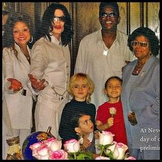 "Michael Jackson with Prince, Paris and ""Blanket"" along with his sister, LaToya, his brother Jermaine and his mother Katherine."