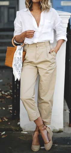 Wide chinos & classic button down