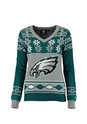 Philadelphia Womens Teal V-Neck Ugly Sweater Sweater