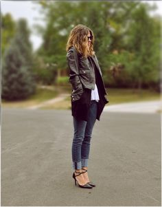 .I have the jacket and i think the sweater and rolled up jeans, guess i can use any pair of heals