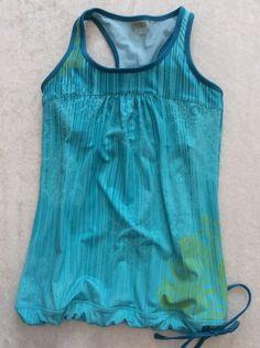 Athleta Xs Tinker Tank Turquoise Modern Graphic Bra Top Drawstring Cinch FLAW #Athleta #Top