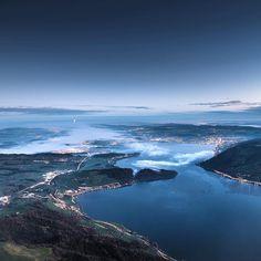Lake Zug seen from mount Rigi (1798m) by @philippsalzborn. #visitswitzerland by visitswitzerland