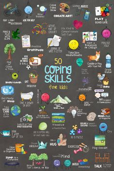 50 Coping Skills for Kids. Fun School Counseling Lesson, Sorting Cards & Collage Activities & Poster #ParentingActivities