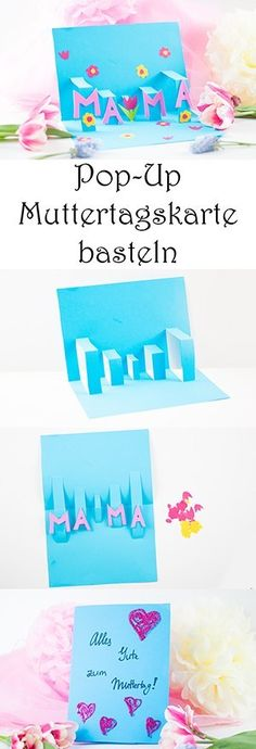 Make Pop-Up Mother& Day card: quick and easy - Mama K .- Pop-Up Muttertagskarte basteln: schnell und einfach — Mama Kreativ Tinker pop-up Mother& Day card: quick and easy Day - Diy Gifts For Christmas, Diy Gifts For Mom, Diy Mothers Day Gifts, Easy Diy Gifts, Fathers Day, Christmas Pop, Mothers Day Presents, Diy For Kids, Crafts For Kids