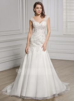 Trumpet/Mermaid V-neck Court Train Tulle Lace Wedding Dress With Beading Sequins (002056611) - JJsHouse