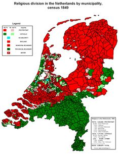 Religious division in the Netherlands by municipality at the census of 1849