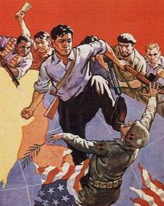 North Korean communist hate propaganda: kicking a US Marine in the face!