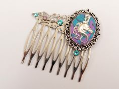 Fantasy hair comb with Einhorn in turquoise pink silver, mythical creature - pinned by pin4etsy.com