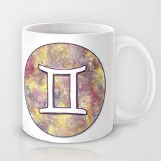 """Signe du Zodiaque : Gémeaux / Zodiac sign : Gemini"" Mug by Savousepate on Society6 #mug #gemini #astrology #astrologicalsign #zodiacsign #white #purple #yellow"