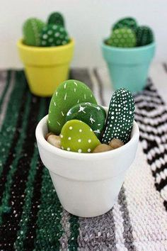 Hand Painted Mini Cactus - Office Desk - Ideas of Office Desk - The . Handwerk ualp , Hand Painted Mini Cactus - Office Desk - Ideas of Office Desk - The . Hand Painted Mini Cactus - Office Desk - Ideas of Office Desk Stone Crafts, Rock Crafts, Cute Crafts, Simple Crafts, Creative Crafts, Diy Kids Crafts, Easy Crafts To Sell, Budget Crafts, Diy Arts And Crafts