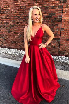 Simple Straps A-line Red Long Prom Dresses by prom dresses, $150.00 USD