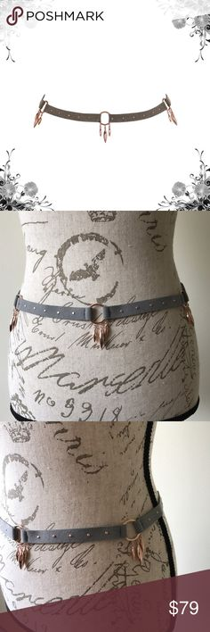 """Stone Cold Fox + Luv AJ 'Salvador' Suede Belt Gray suede belt with rose gold metal accents. One Size Fits All. Belt is 27"""" long with 11"""" of extender chain. Charms hanging on circular connectors hang 1.25"""" down. Bundle for discounts! Thank you for shopping my closet! Stone Cold Fox Accessories Belts"""