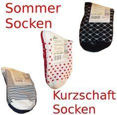 6 Paar Kurzschaftsocken  für Damen    Hergestellt auf qualitativ hochwertigen 200-Nadel Strickmaschinen.  Die Socken sind dadurch besonders dehnfähig und haben eine gute Paßform.    vorhandene Größen: 35-38, 39-42
