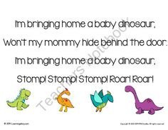 "FREE Dinosaur Egg Craftivity & Song from Learning Ahoy on TeachersNotebook.com - (5 pages) - Dinosaur Egg Craftivity & Song This is the perfect addition to any dinosaur unit in preschool or kindergarten. Students learn a song about bring home a baby dinosaur. The song is sung to the tune of ""I'm bringing home a baby bumble bee&amp"