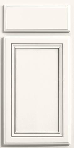 Merillat Classic Glen Arbor door style in Cotton paint with Tuscan glaze on Maple wood.