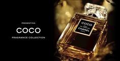 Coco by Chanel - spicy, warm, winter scent that  includes jasmine, peach, frangipani, mimosa, and orange blossom; its heart as cascarilla, orange blossom, rose, clove buds, and angelica; and its base as labdanum, sandalwood, tonka bean, leather, and opopanax. #perfume
